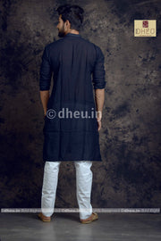 Black Pure Cotton kurta  -Solid Colour - Boutique Dheu