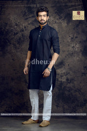 Black Pure Cotton kurta -Solid Colour