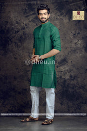 Green Pure Cotton kurta for Men -Solid Colour