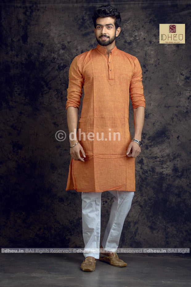 Rust Orange Pure Cotton kurta -Solid Colour - Boutique Dheu