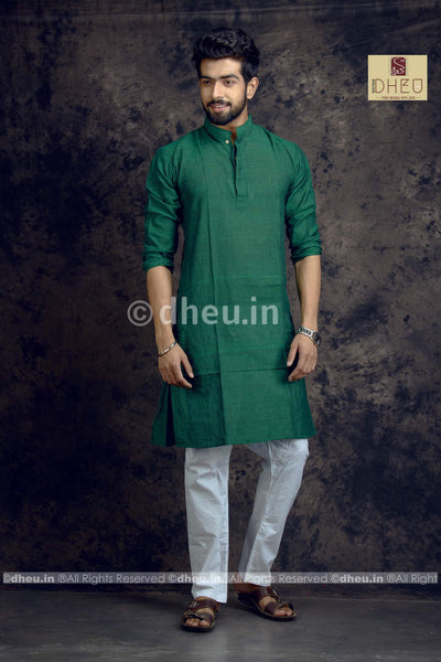 Green Pure Cotton kurta for Men -Solid Colour - Boutique Dheu
