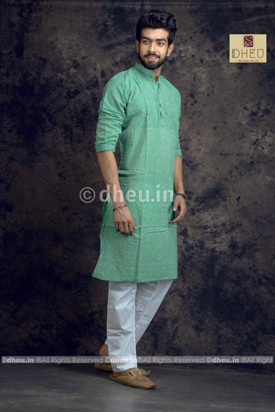 Sea green Pure Cotton kurta -Solid Colour - Boutique Dheu