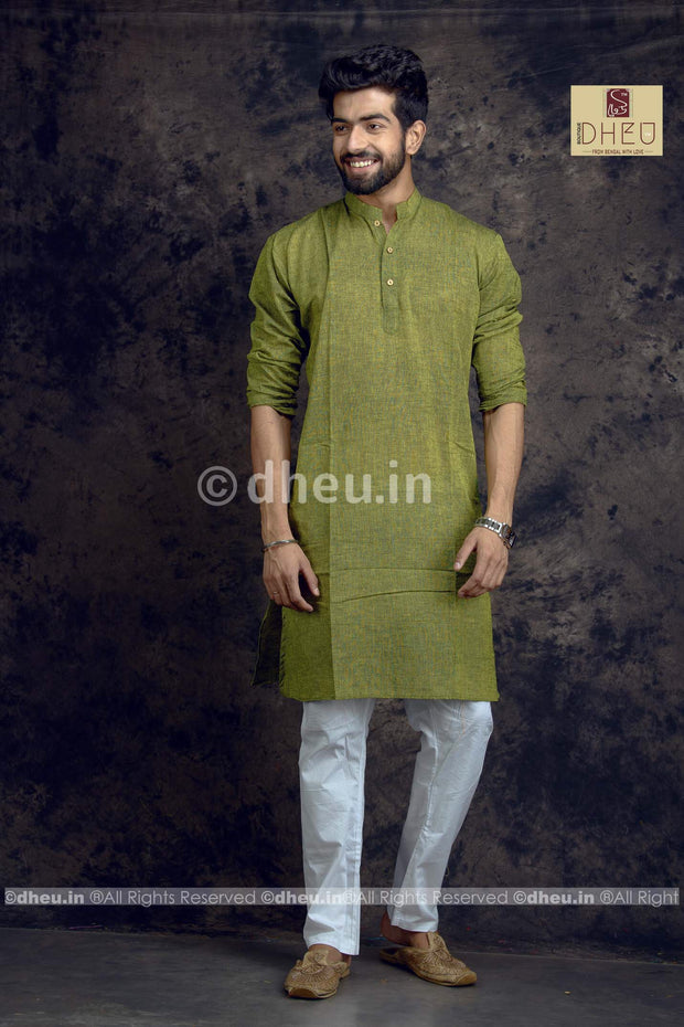Moss green Pure Cotton kurta -Solid Colour - Boutique Dheu