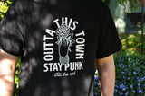Outta This Town Flower Punk T-shirt Black