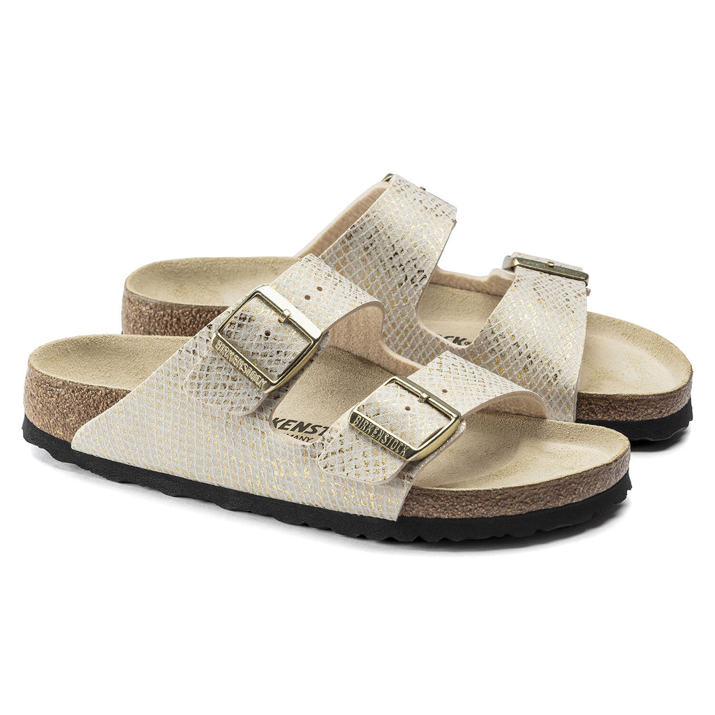 Birkenstock - Arizona Shiny Snake Cream Sandals