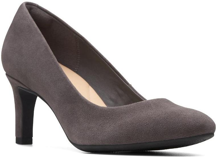 Clarks - Calla Rose Dark Grey Suede Shoes