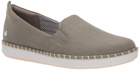 Clarks - Step Glow Slip Olive Canvas Shoes