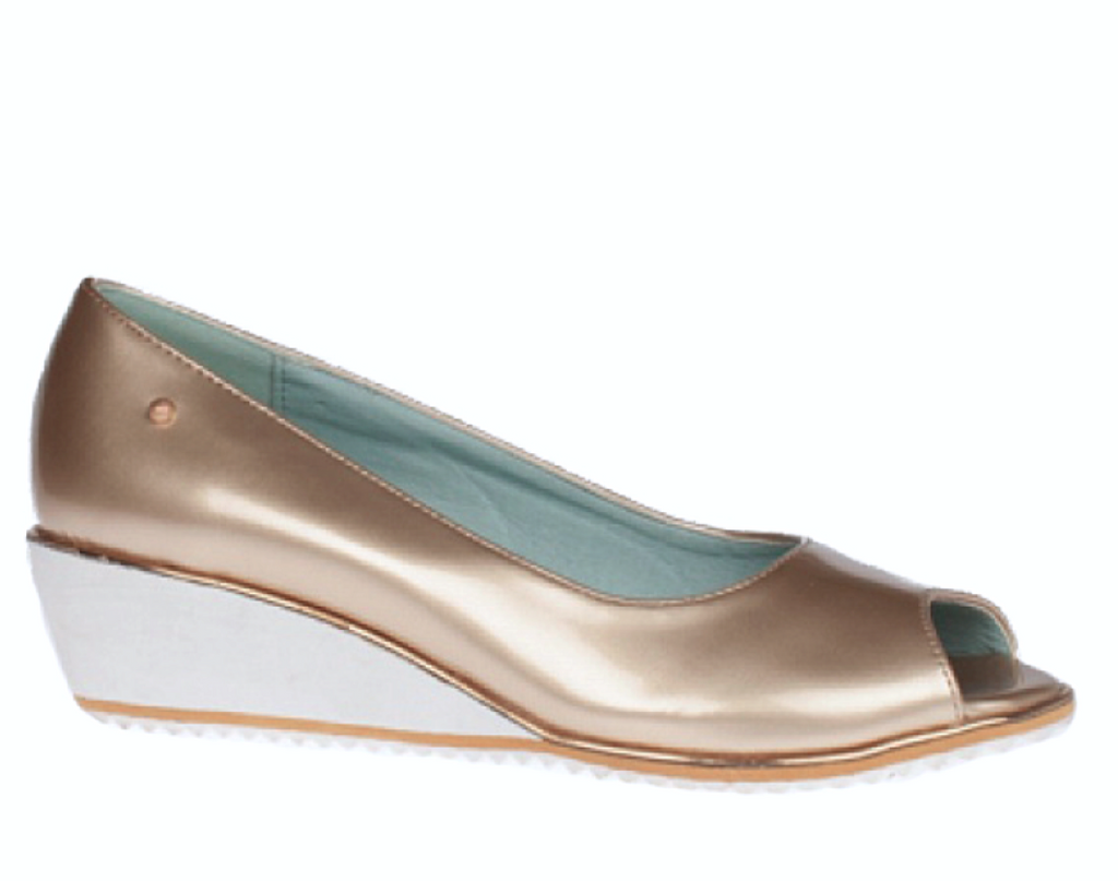 Zanni & Co - Whitefish Gold Patent Open-Toe Wedges
