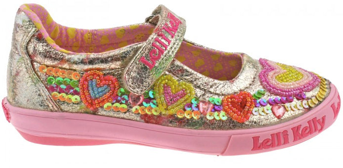 Lelli Kelly - Mila Gold Multi Canvas Shoes (5060)