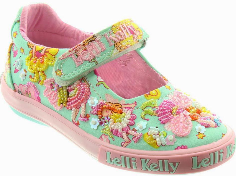 Lelli Kelly - Polly Dolly Green Cavas Shoes (5054)