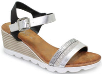Lunar - Fellini Silver Wedge Sandals