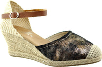 Lunar - Mexico Black/Comb Wedge Sandals