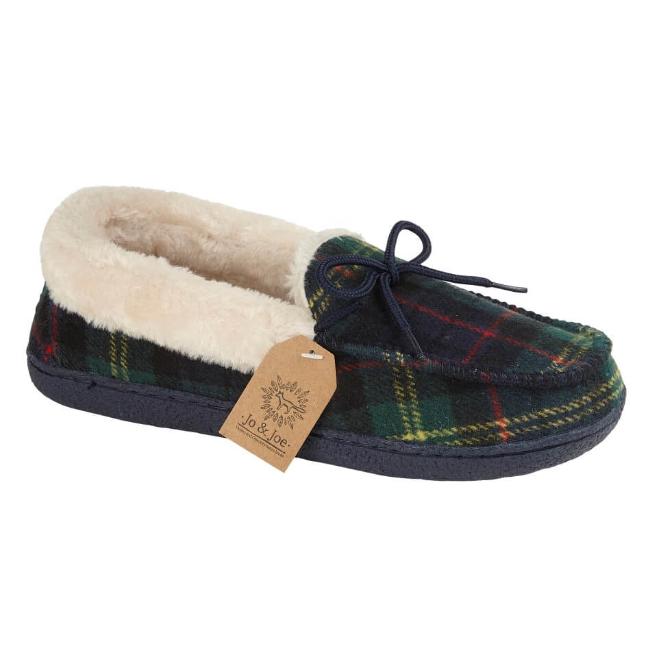 LJ&R - Pembroke Navy/Green Slippers