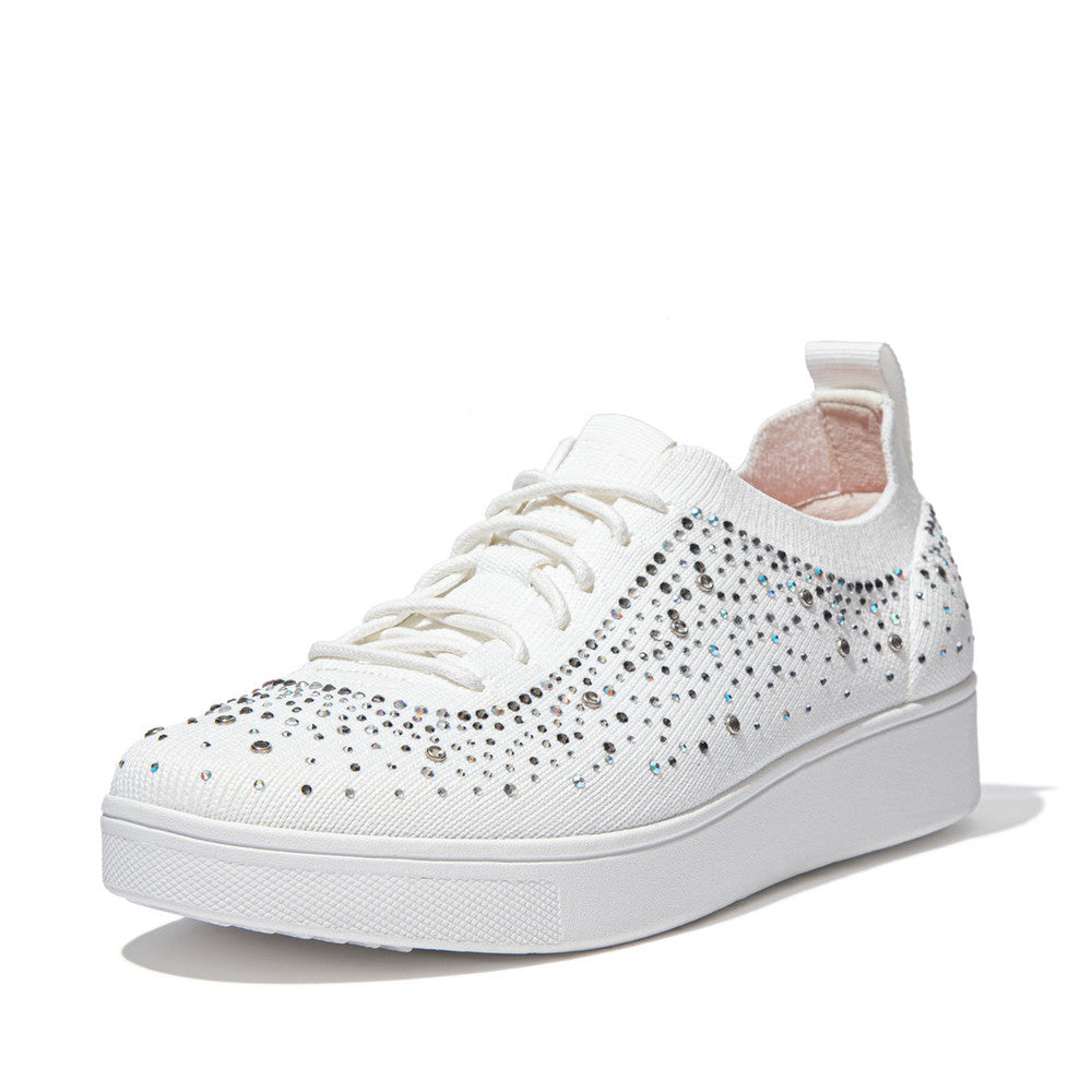 FitFlop - Rally Crystal Knit White Runners