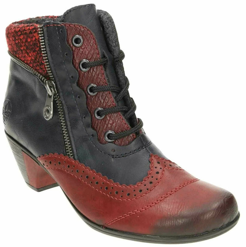 Rieker - Y7211 Wine/Navy/Multi Ankle Boots