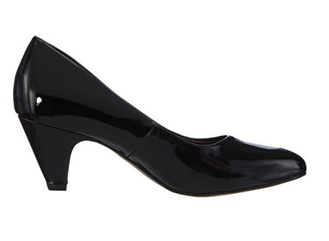 Tamaris - 22416 Black Patent Mid Court Shoes