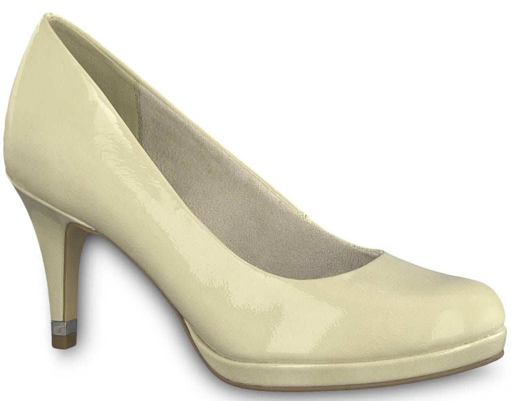 Tamaris - 22444 Cream/Patent Court Shoes