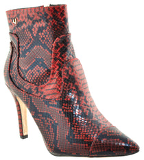 Una Healy - Alone Red/Snake Ankle Boots