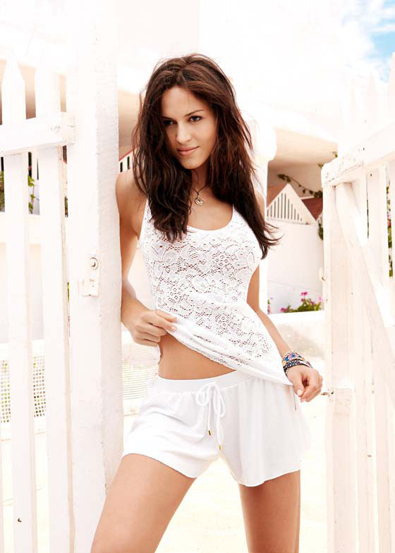 White Lace Tank and White Shorts