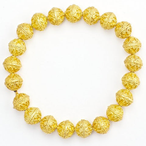 8mm Textured 22 K Gold Ball Bracelet