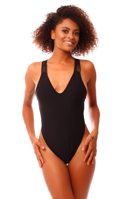 BLACK HIGH SIDE STRAPPY ONE PIECE
