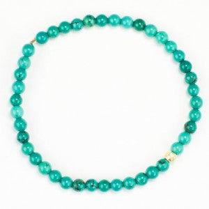 4mm Turquoise Stone Bracelet w/Gold Centerpiece