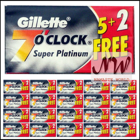 Gillette 7'Oclock Super Platinum Double Edge DE Shaving Razor Blades