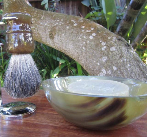 Shaving Bowl, Brush, & Stand wth Natural Soap - Pure Badger Brush