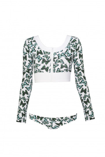Skull Butterfly Cropped Rashguard
