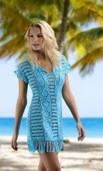 Turquoise Crochet Dress