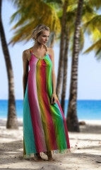 Rainbow Waterfall Striped Maxi Dress
