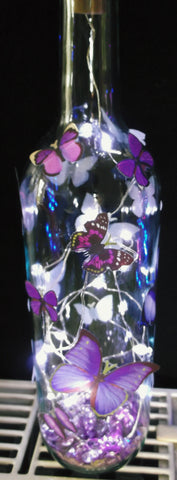 Bottle lights with stand out Butterflies (White lights)
