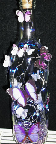 Bottle lights with stand out Butterflies (blue lights)