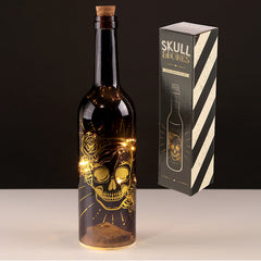Decorative LED Bottle Light - Metallic Black and Gold Skulls