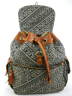 Silk Brocade and Leather Backpack by One Love Global