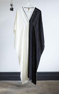 Black White Silk V-Neck Caftan by Two New York