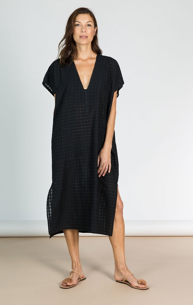 Black Bib Grid Caftan by Two New York