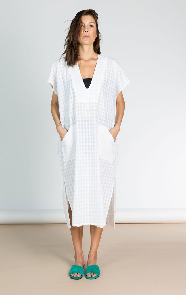 White Bib Grid Caftan by Two New York