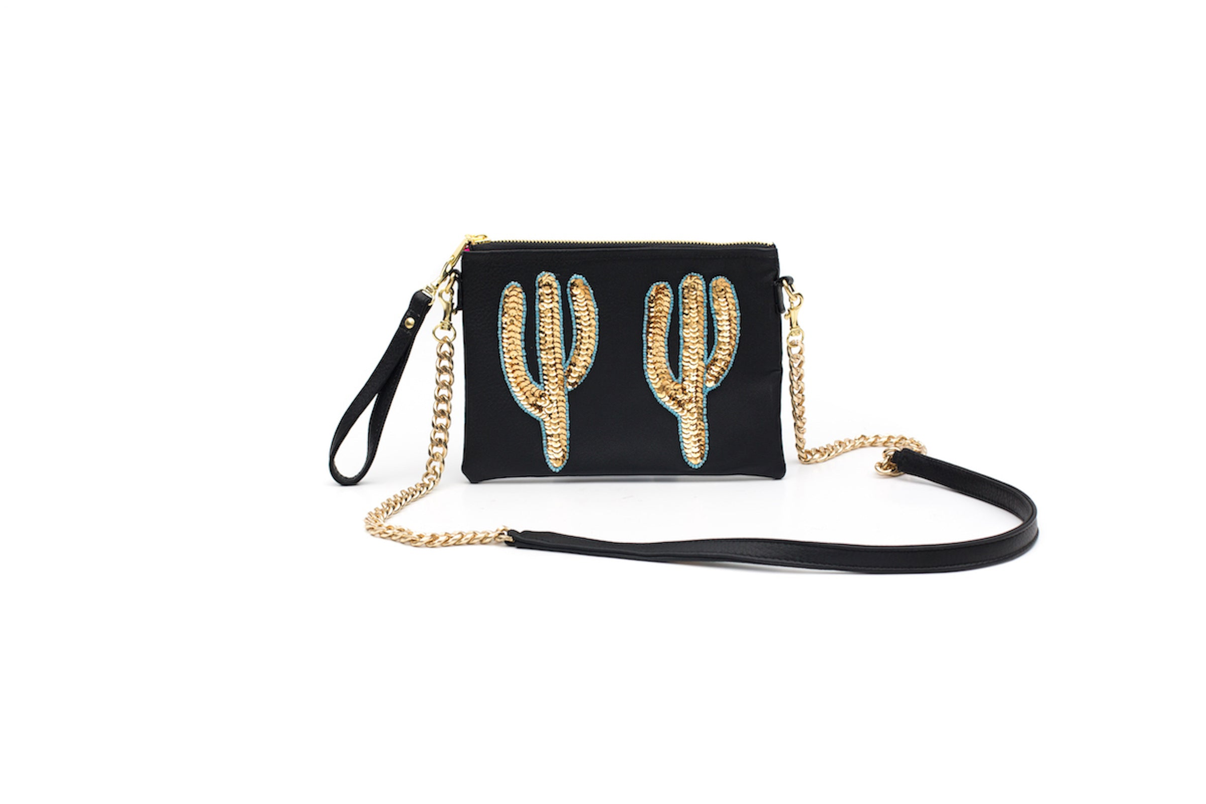 Small Black Cactus Crossbody Bag