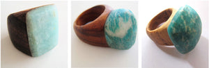 Amazonite & Ancient Oak Wooden Ring