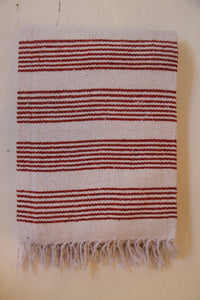 Pescadero Blanket - White/Rust Thin Stripe