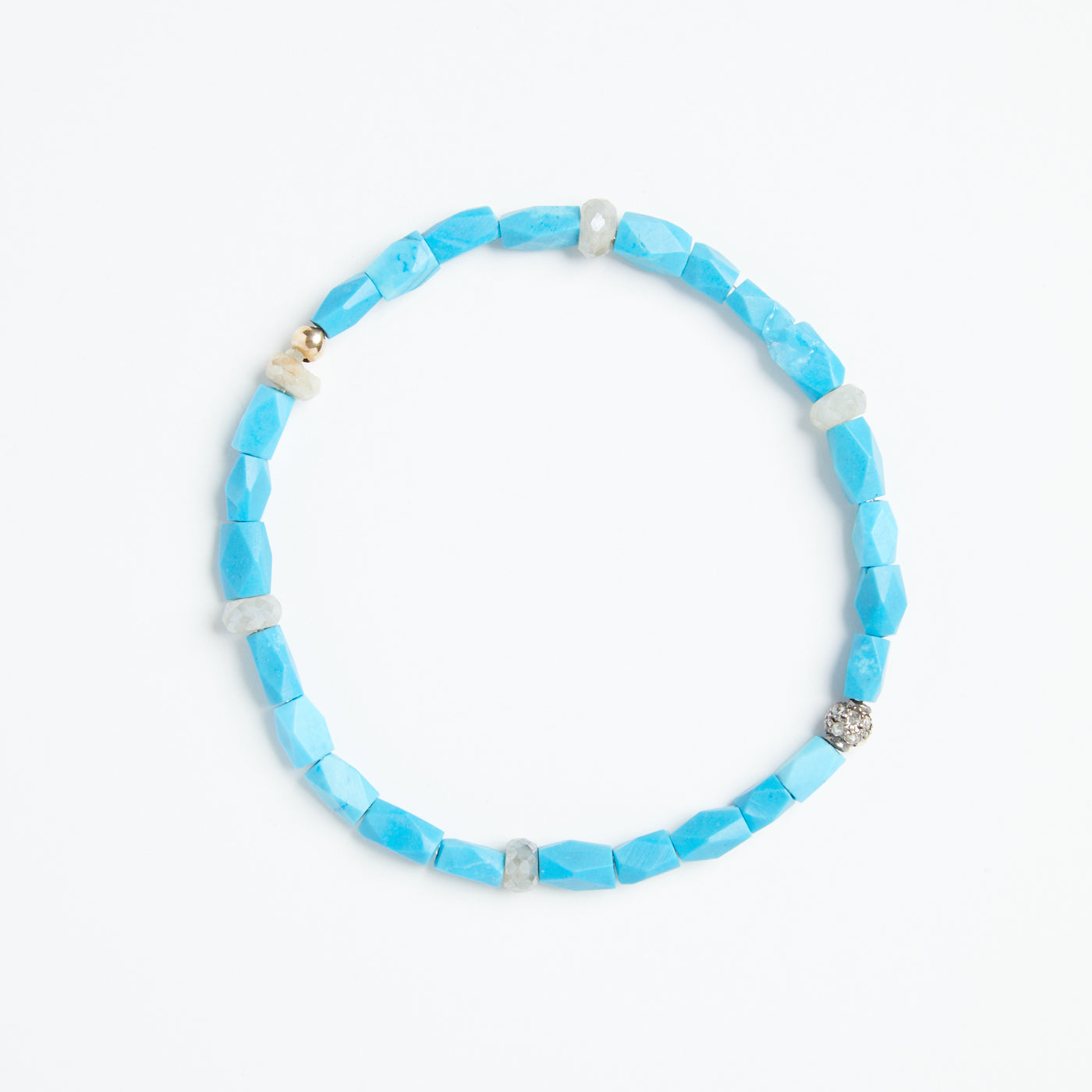 Turquoise, White Sapphire with Pave Diamond Bracelet