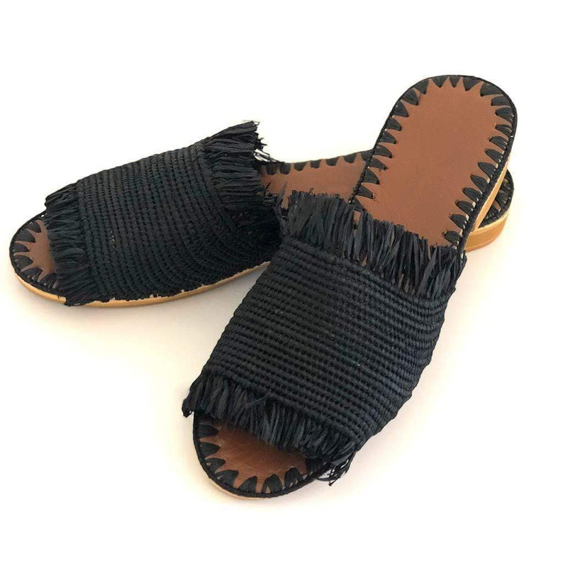 Handwoven Raffia Slide  |  Black