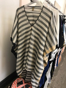 Black & White Stripe Caftan with Peach Side by Two New York
