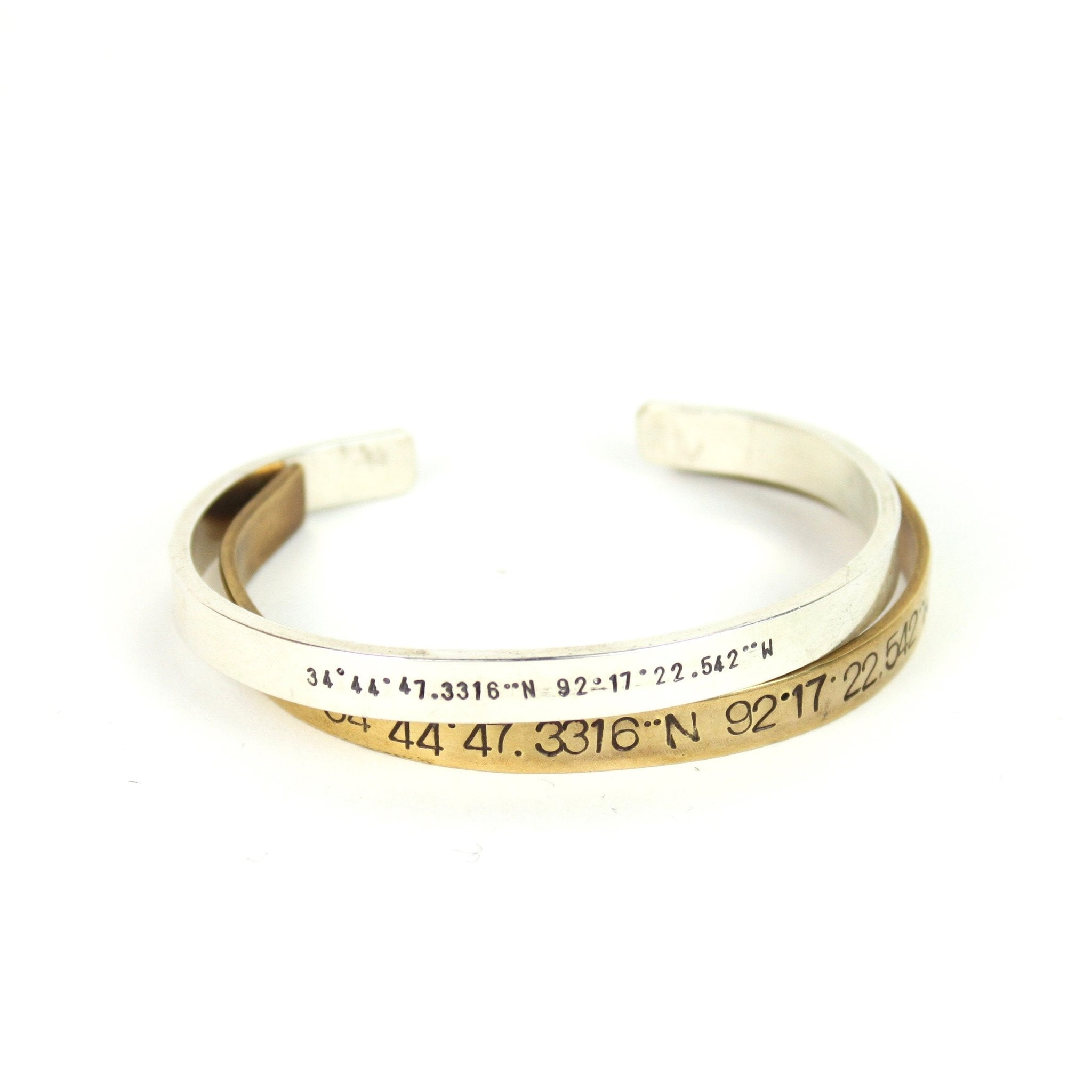 GPS Coordinates Cuff - Sterling Slver