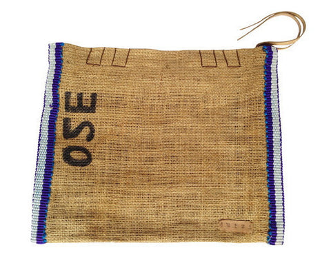 Vintage Burlap Pouch with Metcal Side Trim by Dutzi