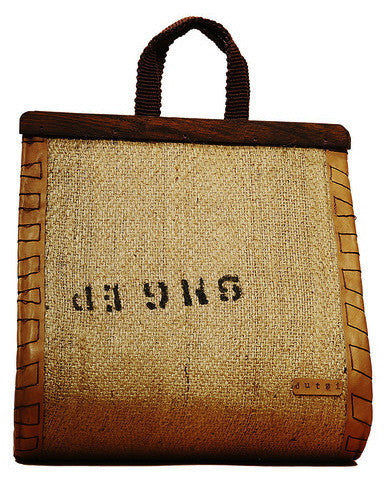Dropshape Tote with Tropical Wood Closure by Dutzi