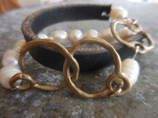 Pearl & Leather Wrap Bracelet by Allie & Me
