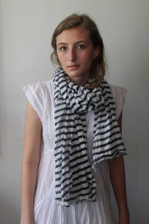 Cotton Stripe Scarf - Navy