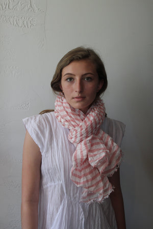Cotton Stripe Scarf - Pink Stripe